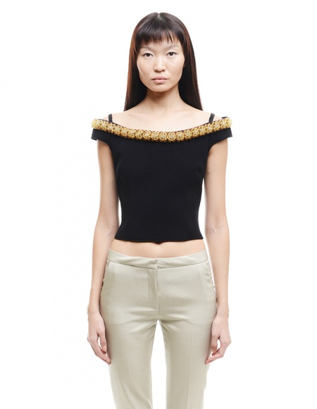 Simone Rocha Embroidered Cold Shoulders Tailored Top