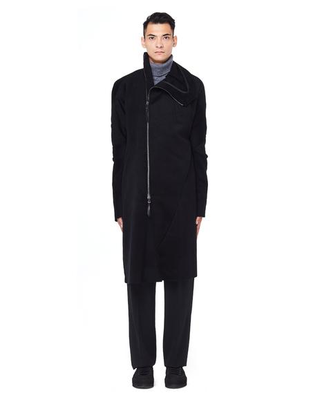 Leon Emanuel Blanck Stand-up Collar Wool Coat - black