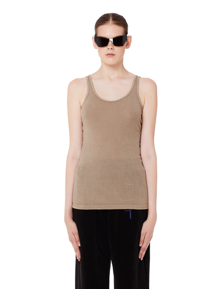 James Perse Brown Ribbed Cotton Tank Top