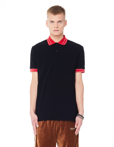 John Elliott Cotton Black & Red Nolan Polo