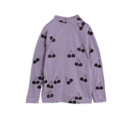 kids mini rodini cherry wool long sleeve tee - purple