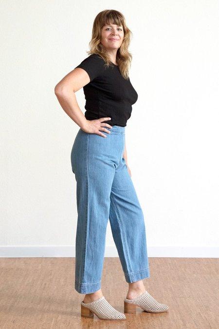 Ali Golden Side Zip Pant - Denim