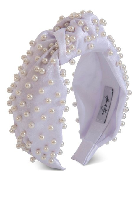 Alice & Blair Sasha Silk Pearl Headband - White