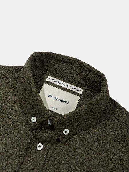 Native North Wool Shirt - Moss Melange