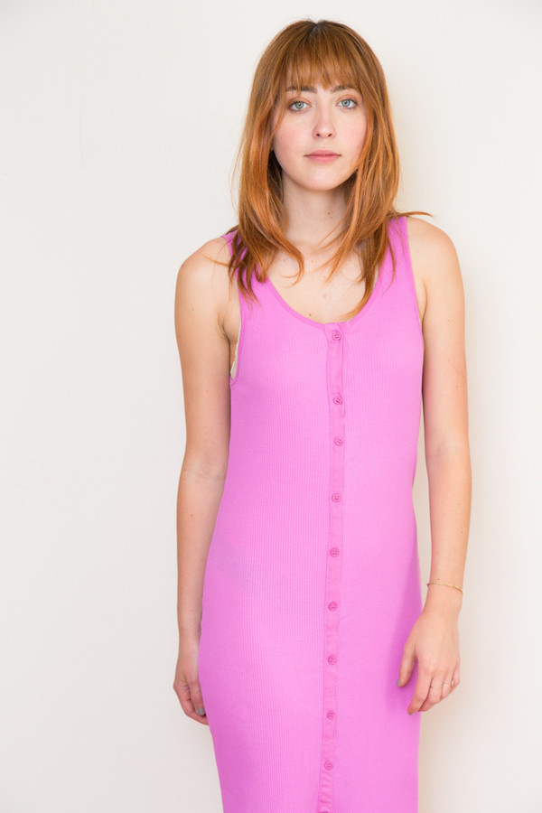 lacausa button rib dress