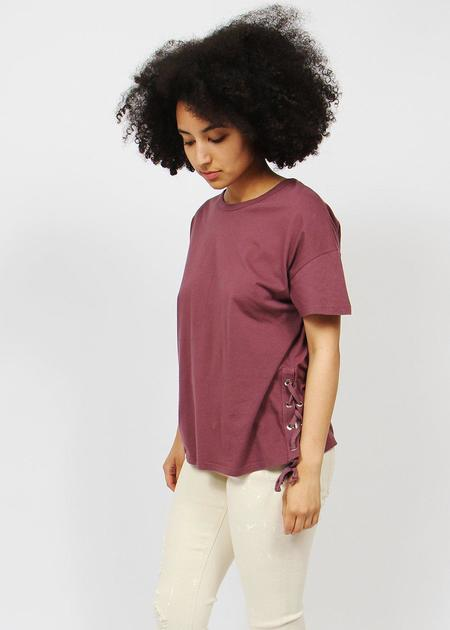 COIN 1804 Side Lace Up Top - Raisin