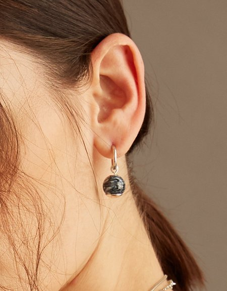 Cled Drop Hoop Earrings - Pure Marble