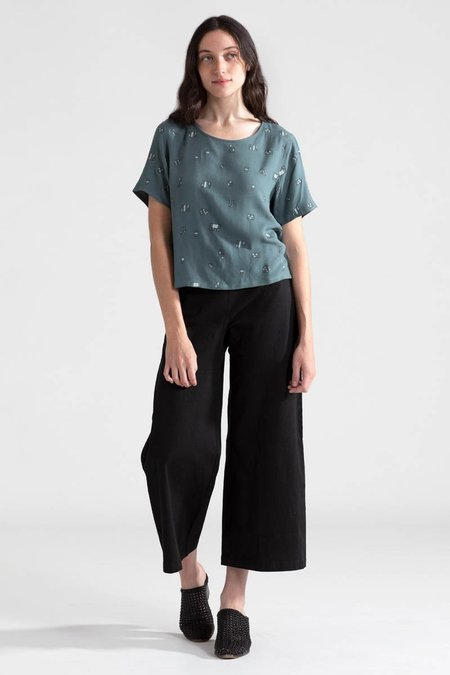 North Of West Windows Cropped Blouse - Forest