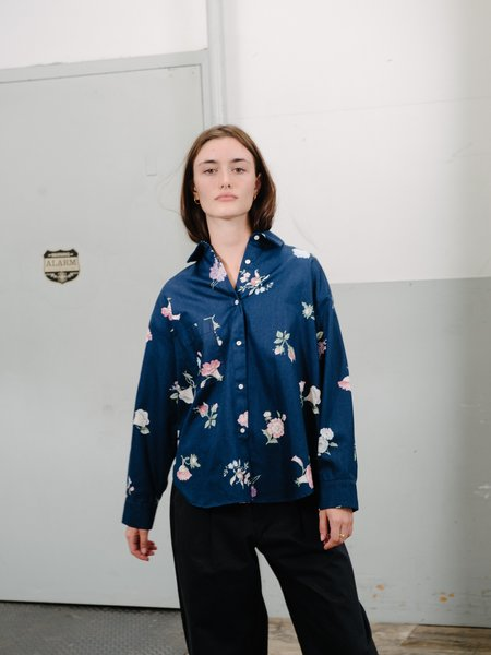 Priory Cabb Shirt Special Poplin - Navy Floral