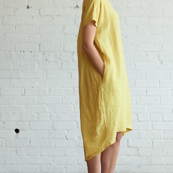Black Crane Pleated Cocoon Dress Lemon - SOLD OUT