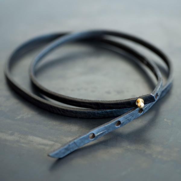 De Palma Leather Goods De Palma Skinny Pin Belt - Black