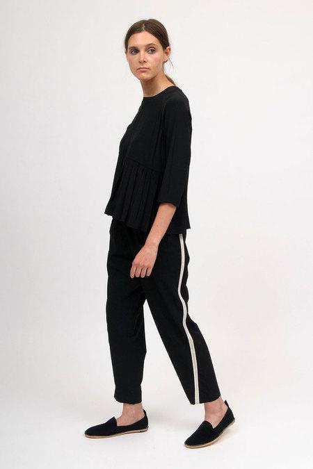 Bodice Pleated Panel Shirt - Black