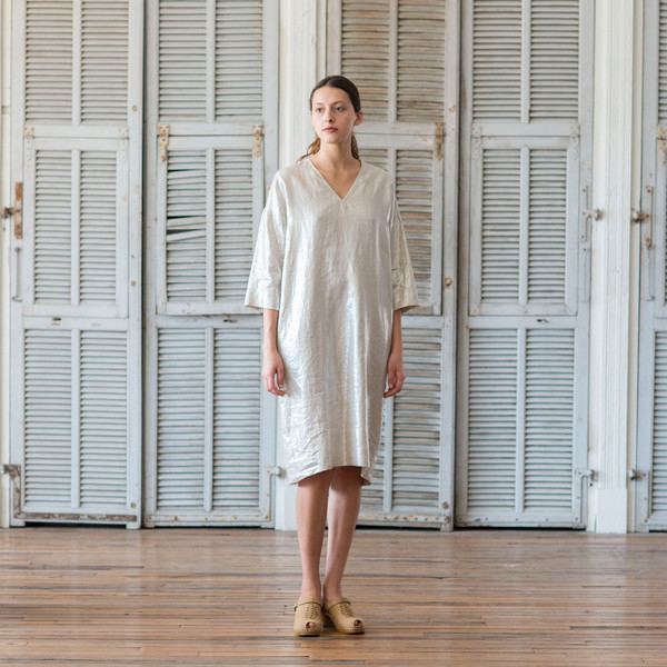 Horses Atelier Long Metallic Silver Cape Dress - SOLD OUT