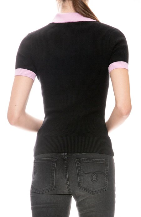 JOOSTRICOT Polo With Contrast Trims - Coal/Wild Rose