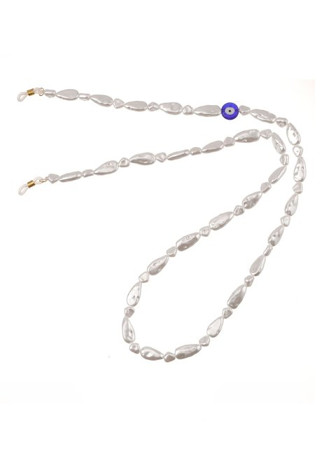 Talis Chains Faux Pearl with Evil Eye chain - White