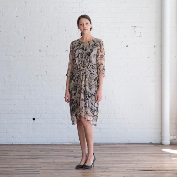 Megan Park Dawn Silk Draped Dress