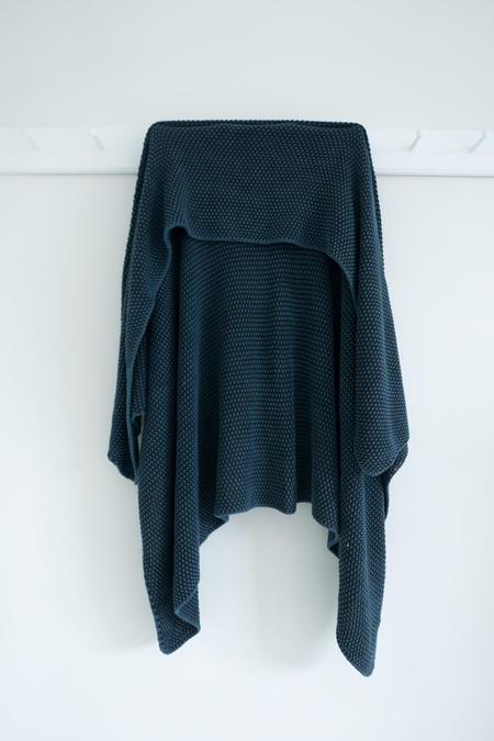 Karu Knitted Cotton Blanket - Deep Blue