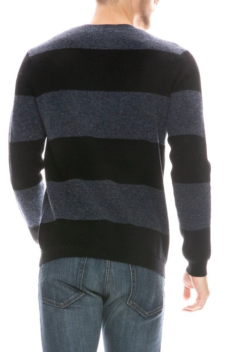 Today is Beautiful x Ron Herman Shaker Rugby Stripe Sweater - BLACK/NIGHT SKY