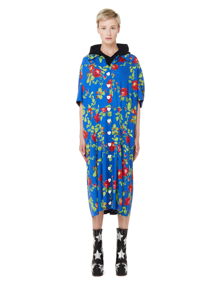 Vetements Anarchy Hooded Flower Printed Dress - Blue