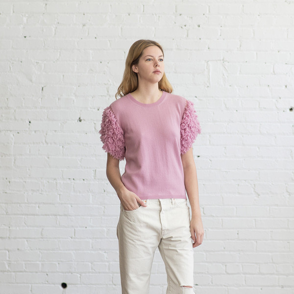 Ryan Roche Crewneck Sweater with Shag Sleeves Carnation Pink - SOLD OUT