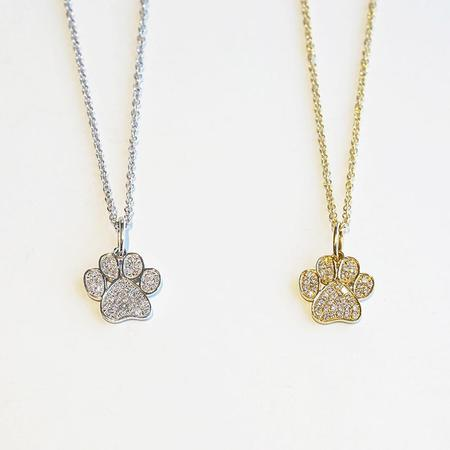 Diamond Dream Signature Collection Paw Print Necklace with Diamonds - 14k Gold