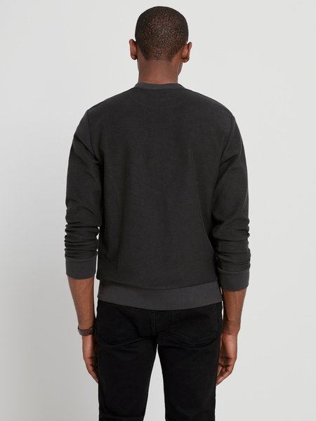 frank & oak cotton recycled poly crewneck - washed black