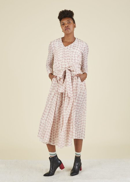 Sara Lanzi Houndstooth Wrap Dress - Pink/Cream