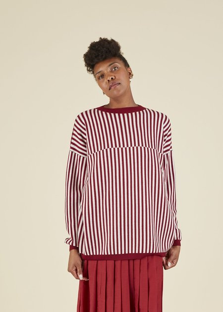 Sara Lanzi Striped Merino Crewneck Sweater - Burgundy/White