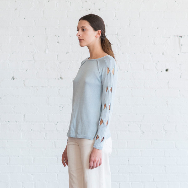 Tess Giberson Cut Out Cable Sweater
