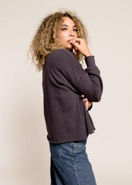 LNA Dancer Rhinestone Sweatshirt - Black Limo