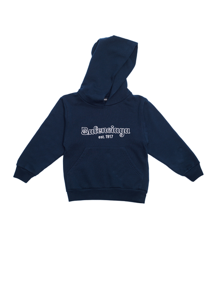 Kids Balenciaga Cotton Hoodie - Navy Blue