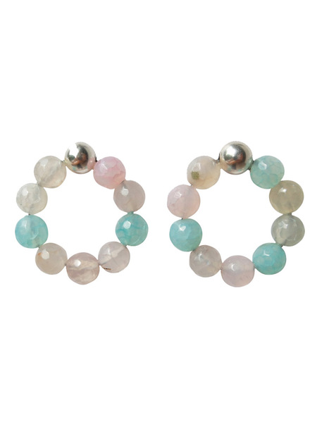 MIRIT WEINSTOCK CANDY HOOPS - AGATE/STERLING SILVER