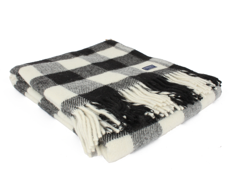 Faribault Buffalo Check Wool Throw - Black/White