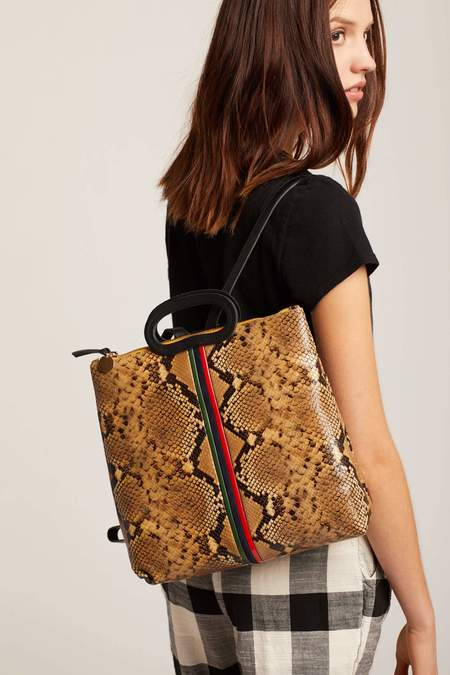 Clare V. Snake Marcelle Backpack - Tan
