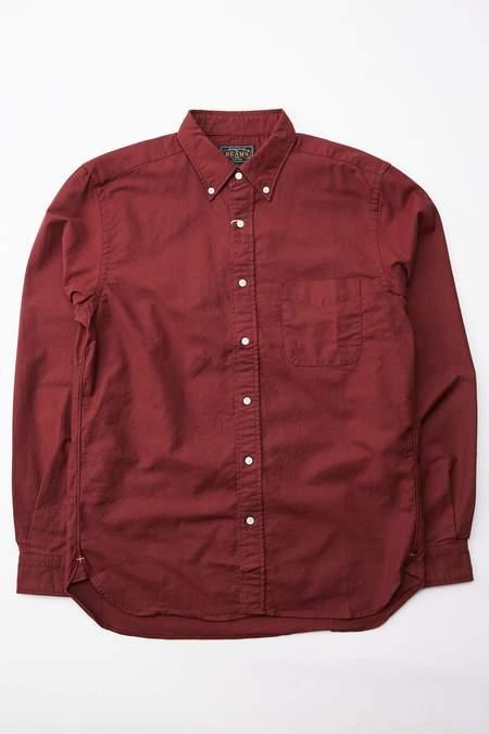 Beams Plus Color Oxford Button Down Shirt - Burgundy