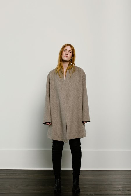 Fleurette Belted Stand Collar Coat - Oatmeal