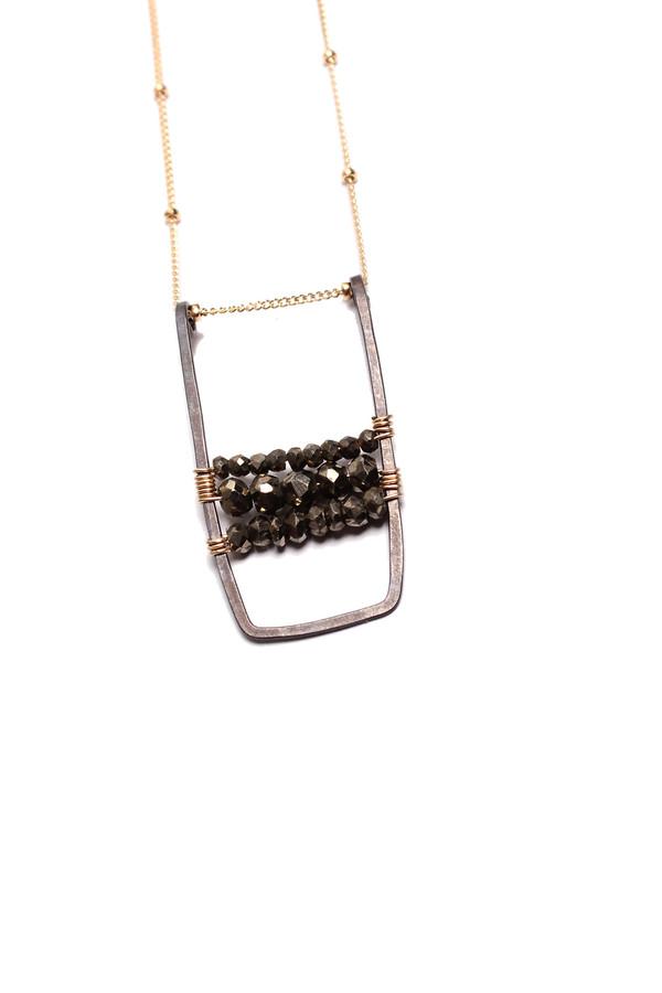 Pyrite Oxidized U Bar Necklace