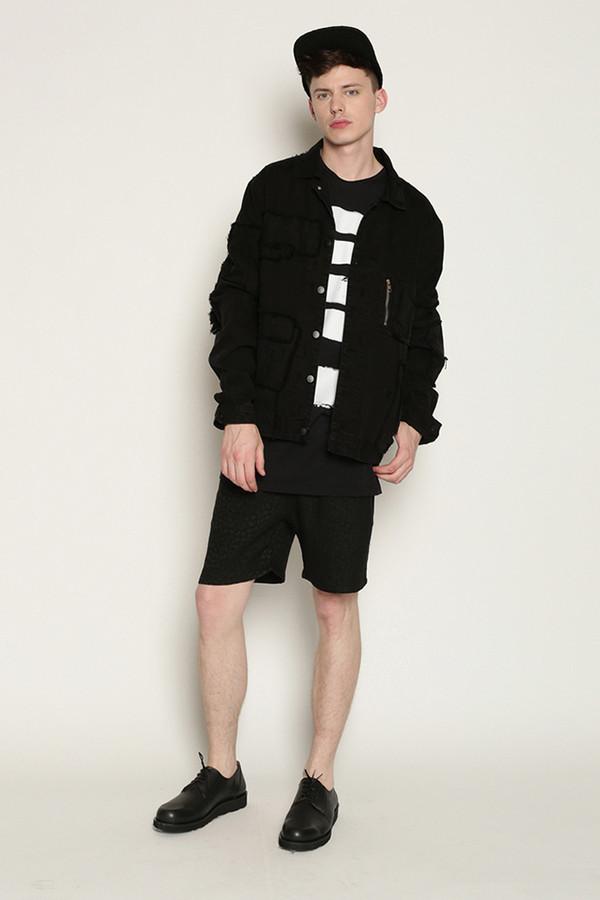Men's Tourne De Transmission Killer Patchwork Denim Jacket in Washed Black