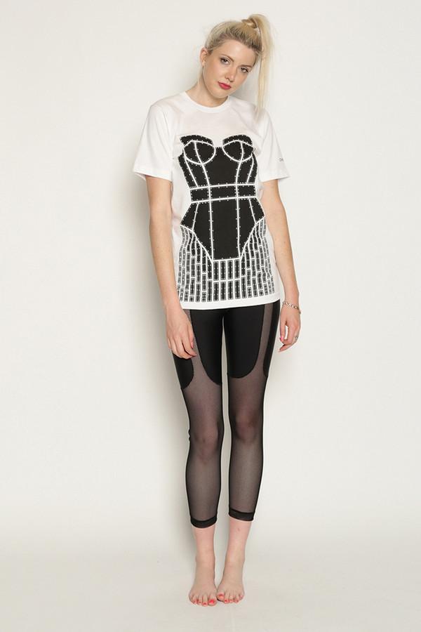 Chromat Metropolis Cage T-Shirt in White/Black