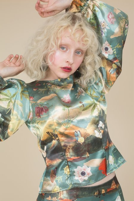Samantha Pleet Garland Blouse - Passion Flower Print