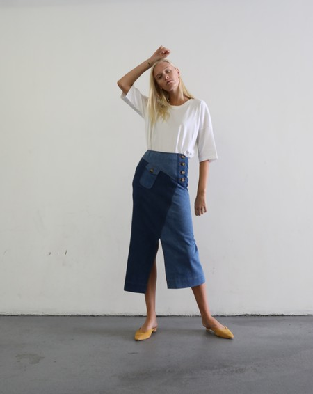 REJINA PYO ASTRID SKIRT - BLUE MIX
