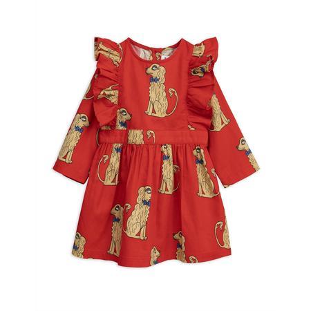KIDS mini rodini spaniels woven ruffled dress - red