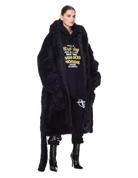 Vetements Anarchy Faux Fur Coat - Black