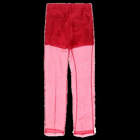 Helmut Lang Straight Leg Organza Pants - Red/Pink