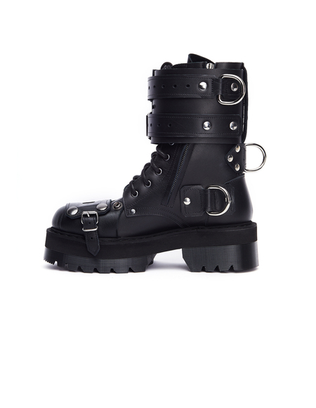 Vetements Leather Belted Army Boots - Black