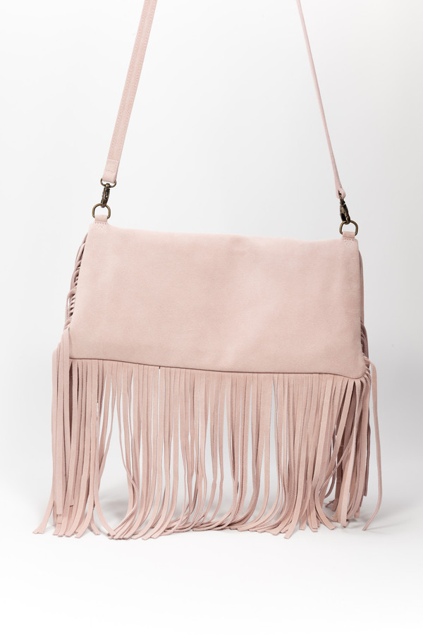 Samuji Fringe Shoulder Bag Light Pink