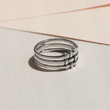 Lindsay Lewis Jewelry Crosshatch Ring - Sterling Silver