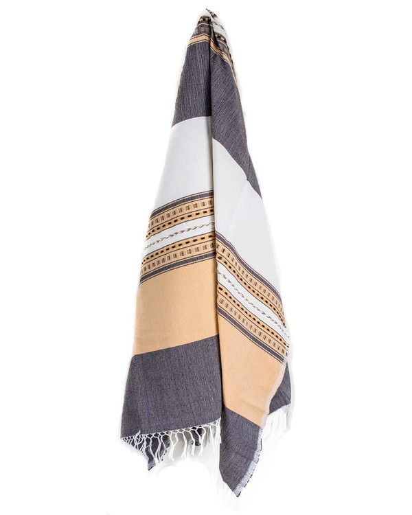 Hand Woven Brown and Yellow Striped Cotton Throw Blanket