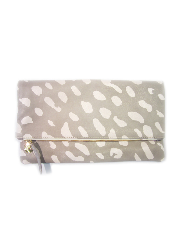 Clare V. Foldover Clutch in Grey and Cream Jaguar
