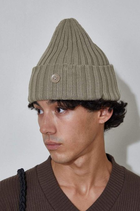 L'Homme Rouge Top Rib Beanie - Green Wave